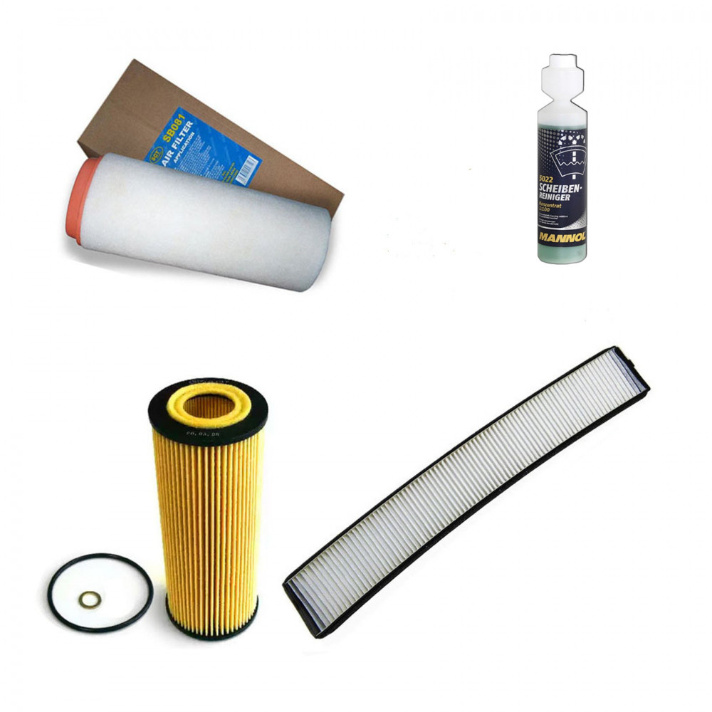 BMW E46 Innenraumfilter Aktivkohle+Ölfilter+Luftfilter+Kraftstofffilter+Geschenk